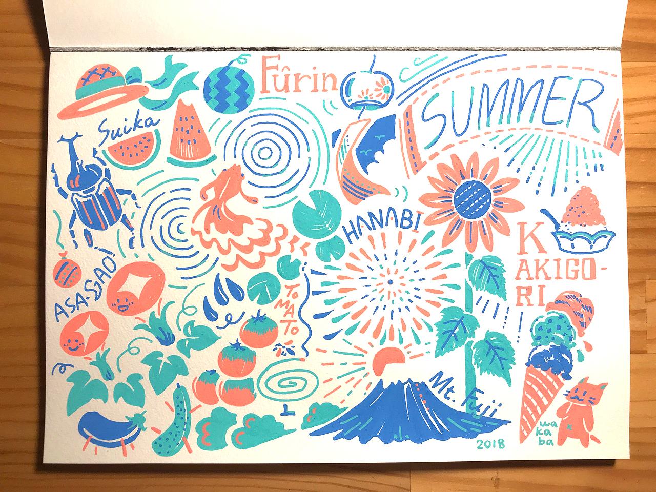 ポスカを使った夏のイラスト
