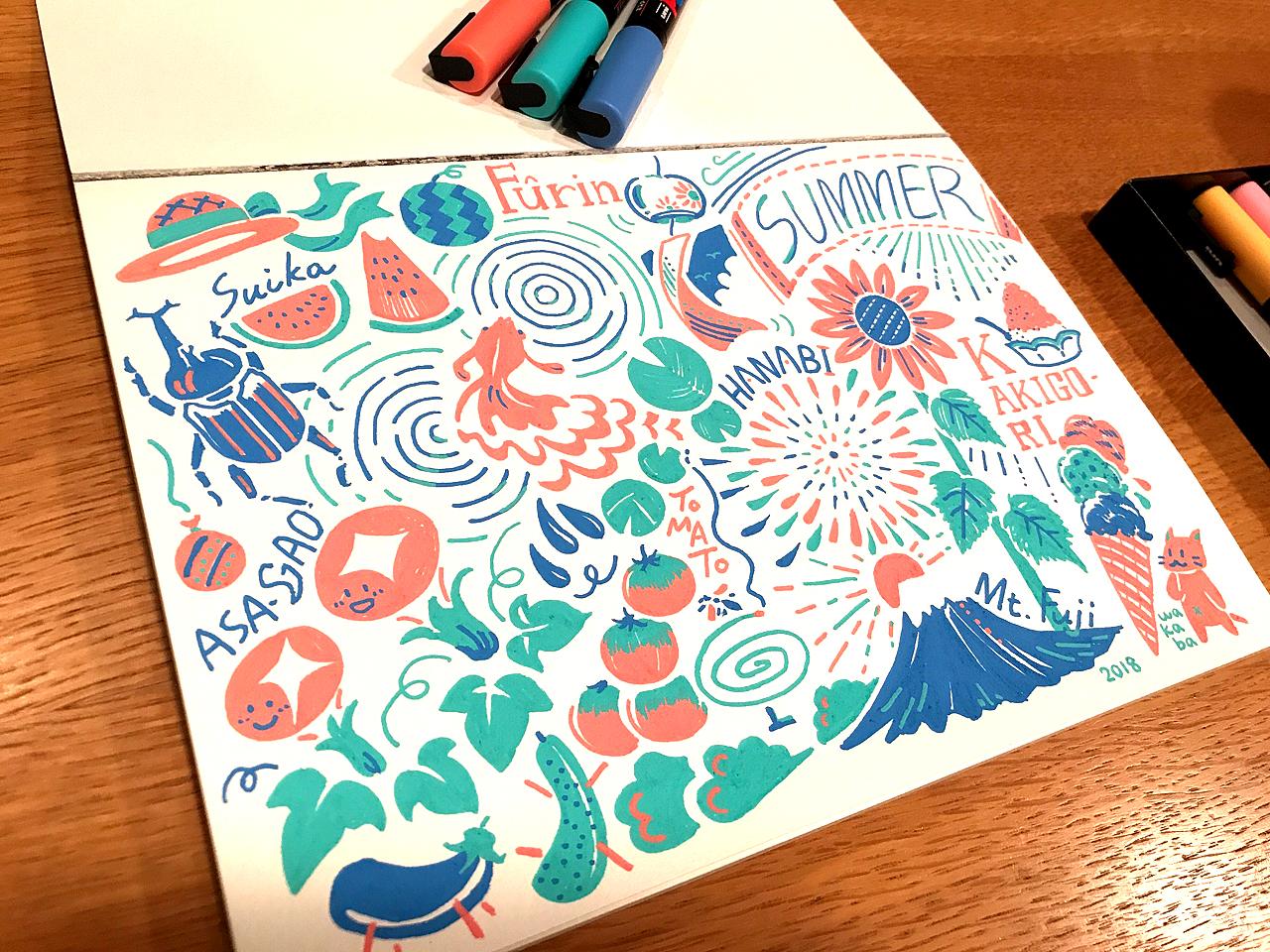 ポスカ3色を使った夏のイラスト