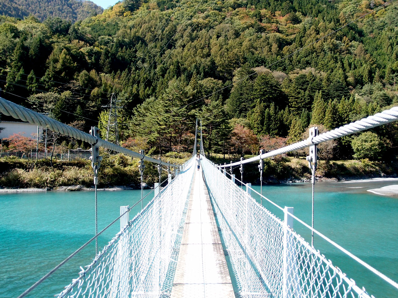 奈良田湖にかかる吊り橋を渡る