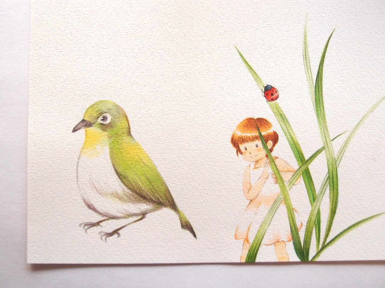 小鳥と女の子とてんとう虫