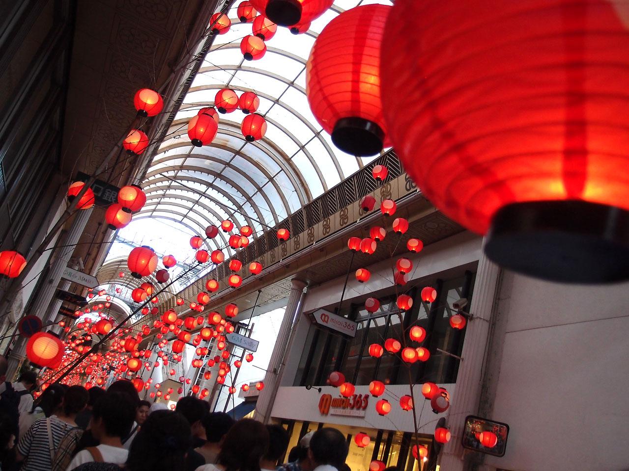 山口ちょうちん祭り:アーケード街