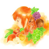 秋の実りのイラスト、リスと赤毛の少女