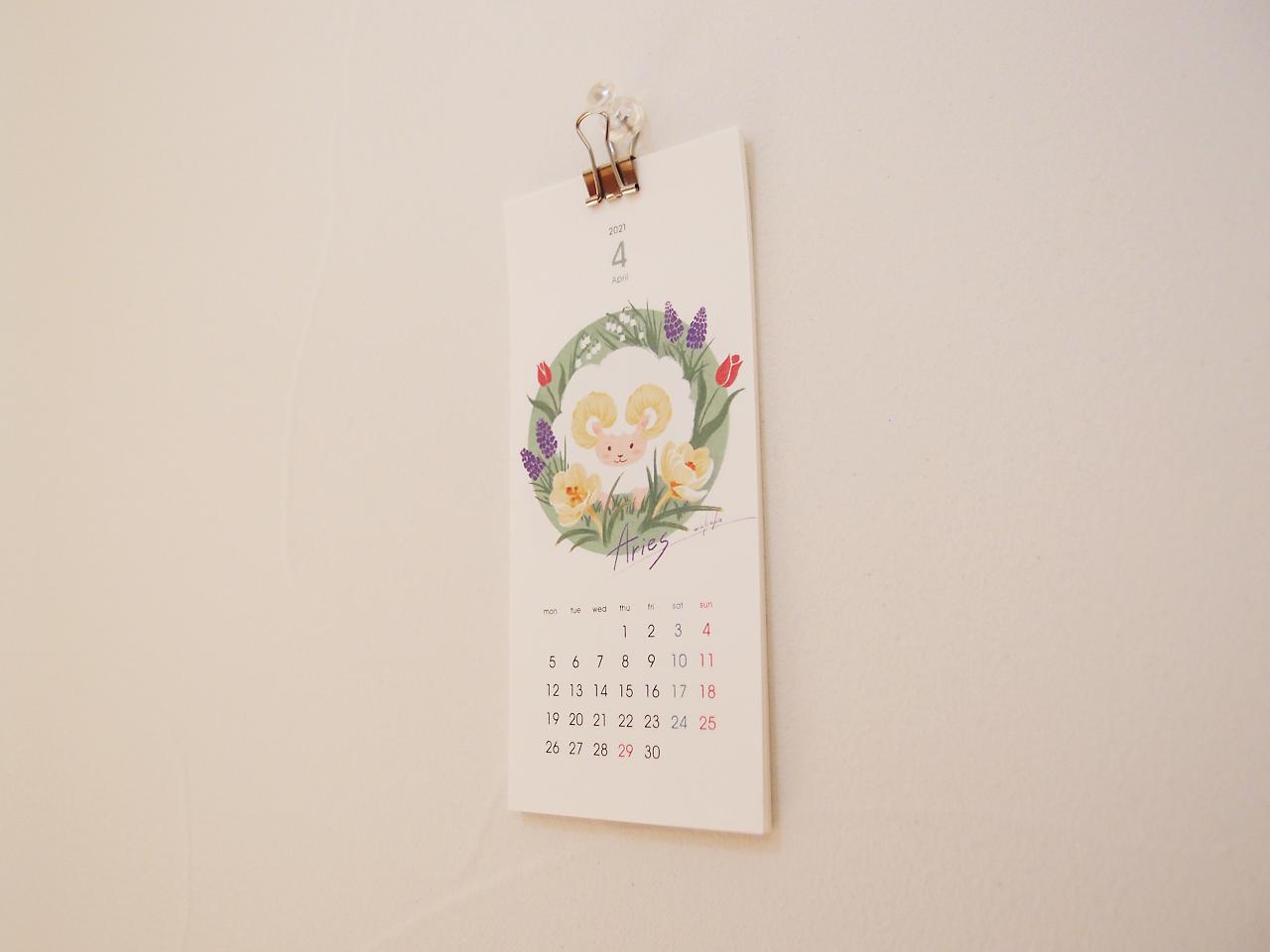 牡羊座イラストカレンダー壁に飾ったところ
