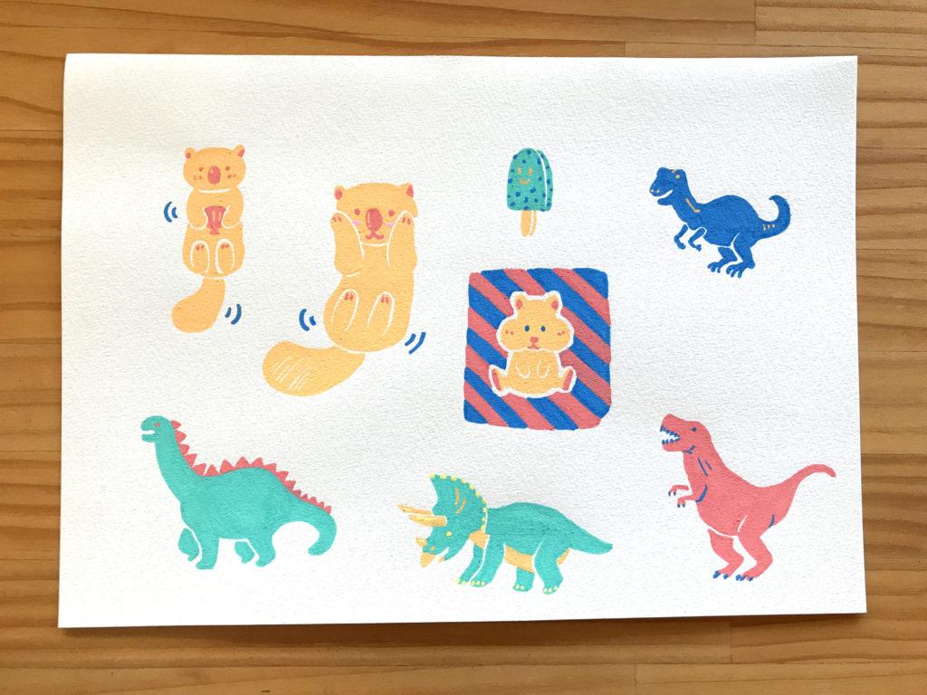 ポスカイラスト:ラッコと恐竜